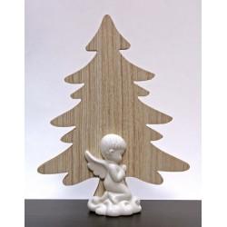 Albero legno con angelo ceramica bianca. H 22