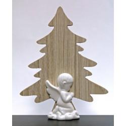 Albero legno con angelo ceramica bianca. H 15