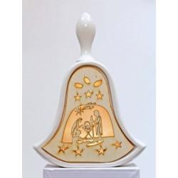 Campana ceramica e legno con luce LED. H 21