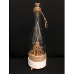 Bottiglia vetro con paesaggio interno legno e carillon. H 32