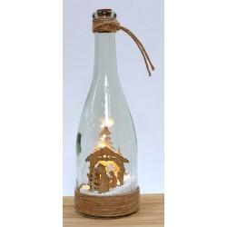 Bottiglia vetro con paesaggio interno legno e luce LED. H 27