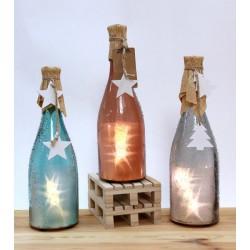 Bottiglia vetro con luce LED e decorazione esterna. Ass 3. H 27