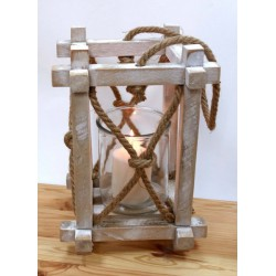 Lanterna legno con manico corda. CM 23x23 H 35