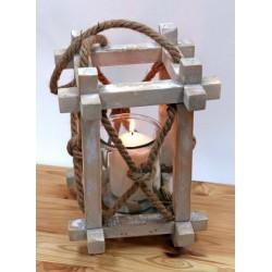 Lanterna legno con manico corda. CM 20x20 H 30