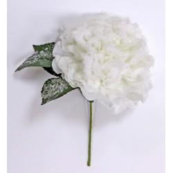 Rosa tessuto bianca con foglie e gambo. CM 20
