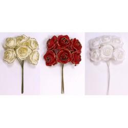 Mazzo 6 rose tessuto con glitter. Diam. 4