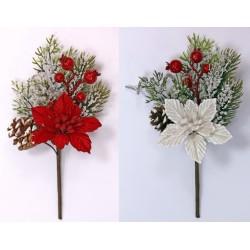 Fiore natalizio con glitter, bacche e pigna. CM 15