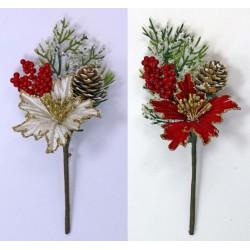 Fiore natalizio con pistilli glitter, bacche e pigna. CM 15