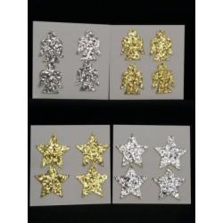 Set 8 pz applicazione glitter oro o silver, angelo o stella. CM 5