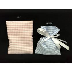 Sacchetto tessuto scacco rosa o azzurro. CM 10x13