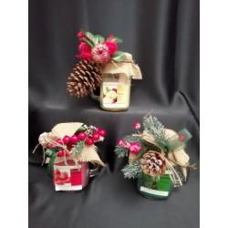 Boccale vetro con candela profumata e decorazione natalizia. Profumazioni assortite CM 13
