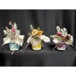 Boccale vetro con candela profumata e decorazione natalizia. Profumazioni assortite CM 8.5