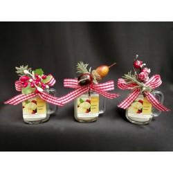 Boccale vetro con candela profumata e decorazione natalizia. Profumazioni assortite CM 6