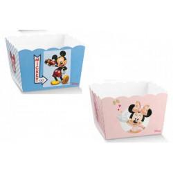 Vassoio porta confetti quadrato cartoncino con decoro Mickey Mouse/Minnie DISNEY. CM 16.5x16.5 H 12