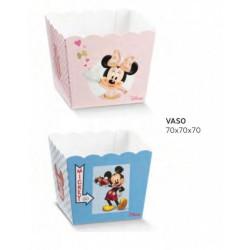 Vassoio porta confetti quadrato cartoncino con decoro Mickey Mouse/Minnie DISNEY. CM 7x7 H 7
