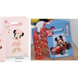 Shopper cartoncino con decoro MIckey Mouse e Minnie. CM 16x7.5 H 23