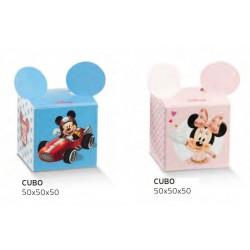 Scatola cartoncino con decoro Mickey Mouse/Minnie. CM 5x5 H 5