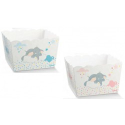 Vassoio porta confetti quadrato cartoncino con decoro Dumbo rosa o azzurro DISNEY. CM 16.5x16.5 H 12