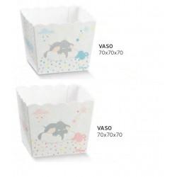 Vassoio porta confetti quadrato cartoncino con decoro Dumbo rosa o azzurro DISNEY. CM 7x7 H 7