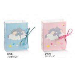 Scatolina portaconfetti forma libro con decoro Dumbo rosa o azzurro DISNEY. CM 7x6 H 3