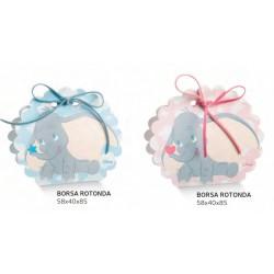 Scatola portaconfetti cartoncino con decoro Dumbo rosa o azzurro DISNEY. CM 6x4 H 8.5