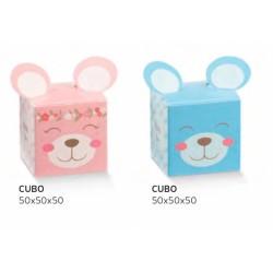 Scatola cartoncino con decoro orso rosa o azzurro. CM 5x5 H 5