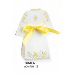 Scatola cartoncino forma tunica con decoro calice. CM 6x4 H 11.5