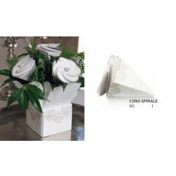 Scatola cartoncino forma cono con chiusura fiore. Diam. 8