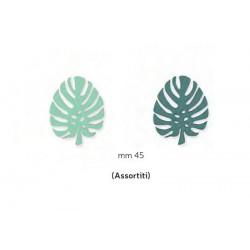 Set 12 foglie in legno con adesivo. Ass 2. CM 4.5