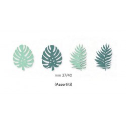 Set 12 foglie in legno con adesivo. Ass 4. CM 4
