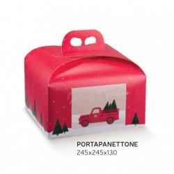 Scatola porta panettone in cartoncino rosso con decoro Pickup. CM 24.5x24.5 H 13