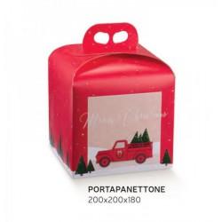 Scatola porta panettone in cartoncino rosso con decoro Pickup. CM 20x20 H 18