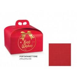 """Scatola porta panettone in cartoncino rosso con scritta """"Best Wishes"""". CM 24.5x24.5 H 13"""