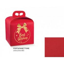 """Scatola porta panettone in cartoncino rosso con scritta """"Best Wishes"""". CM 20x20 H 18"""