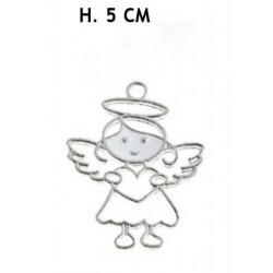 Ciondolo metallo forma angelo. H 4,5