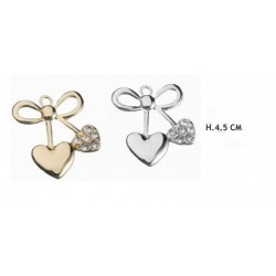 Applicazione forma fiocco con cuore oro o argento. H 4