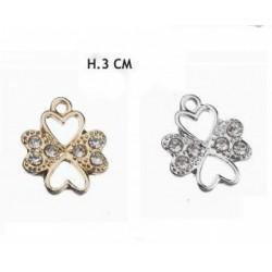 Applicazione forma quadrifoglio con cuore oro o argento. H 3