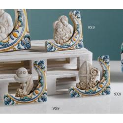 Icona resina con decoro maiolica e scatola. CM 9x9 MADE IN ITALY