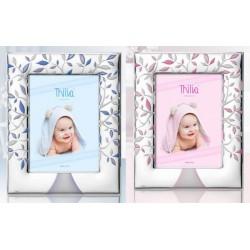 Portafoto argento con albero rosa o azzurro. Retro legno con scatola. CM 10x15
