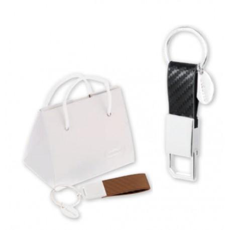 Portachiavi metallo lucido con moschettone estraibile con scatola. CM 10