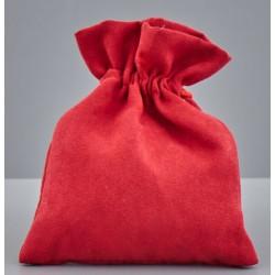 Sacchetto tessuto tipo alcantara rosso con tirante. CM 10x12