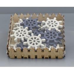 Set 20 timone in legno da applicazione bianco/blu. CM 4