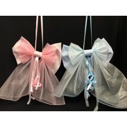 Coccarda fiocco nascita con pendente ciuccio plexi, rosa o azzurro. CM 60