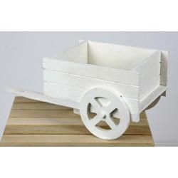Carretto legno bianco. CM 21x11 H 9.5