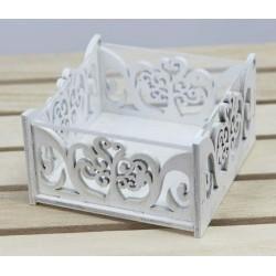 Scatola legno bianca con coperchio plexi. CM 6x6 H 3
