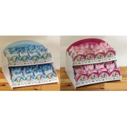 Set 32 scatole legno con decoro arcobaleno e unicorno rosa o azzurro, completo di vassoio. CM 32x22 H 22