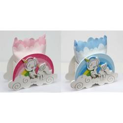 Scatola legno e sacchettino con unicorno e arcobaleno, rosa o azzurro. CM 9x3.5 H 8.5