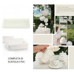 Vassoio ceramica con cuoricini traforati, completo di scatola regalo. CM 25x17