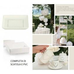 Piattino ceramica con traforo cuori, completo di scatola. CM 12x12