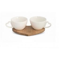 Set due tazzine ceramica con base legno bamboo.